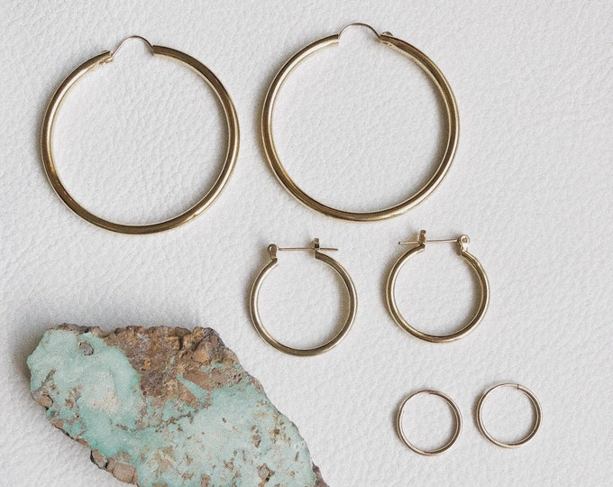 Small/Medium/Large Gold Hoops No Charm