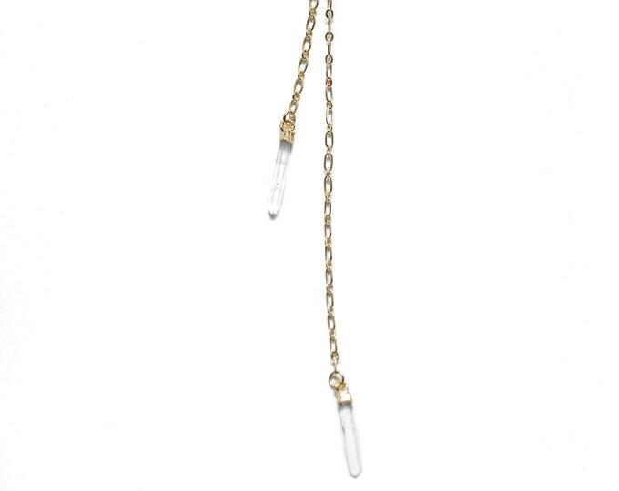Gold Quartz Crystal Wrap Necklace