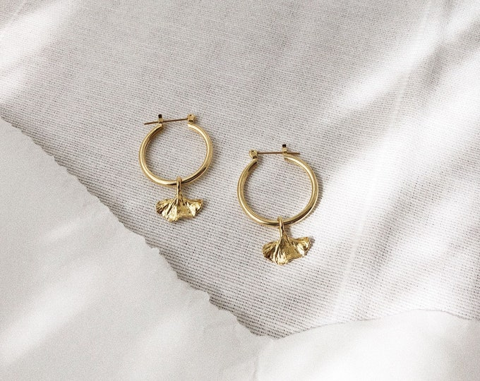 Small Ginkgo Leaf Charm Gold Hoop Earrings