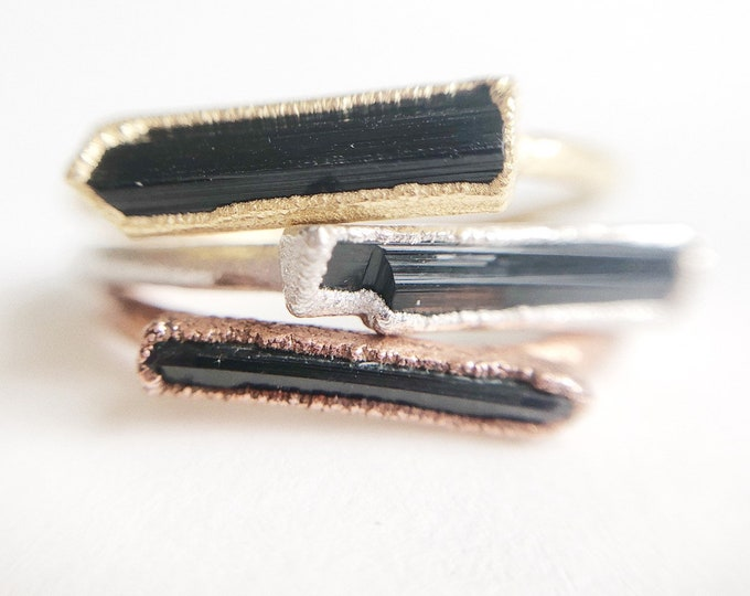 Raw Tourmaline Stacking Ring