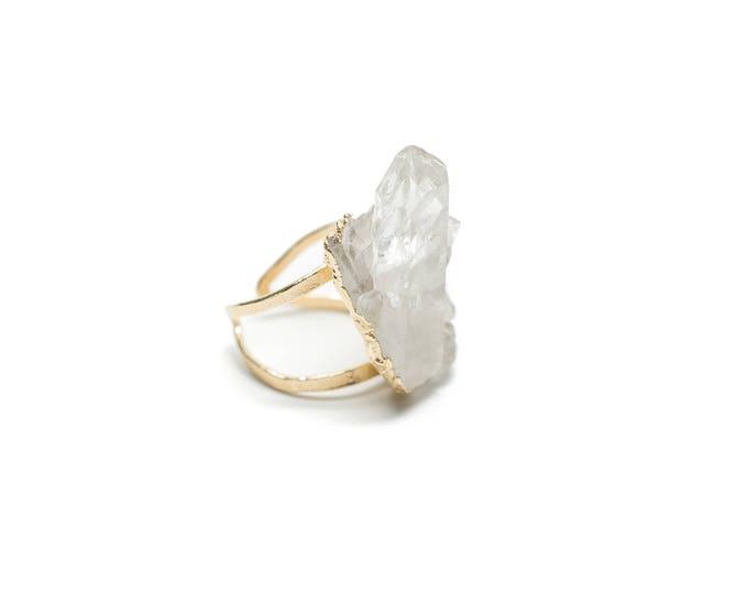 14k Gold Quartz Cluster Über Statement Ring