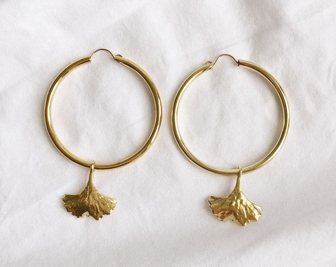 Large Ginkgo Leaf Charm Gold Hoop Earrings Botanical Classic Statement Earrings