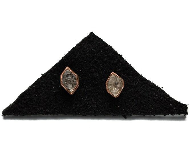 Herkimer Diamond Stud Earrings in Copper