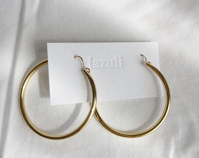 Large Black Agate Charm Gold Hoop Earrings Minimalist Classic Statement Earrings