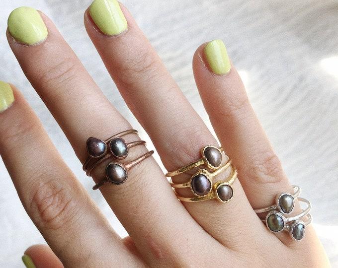 Black Pearl Stacking Ring