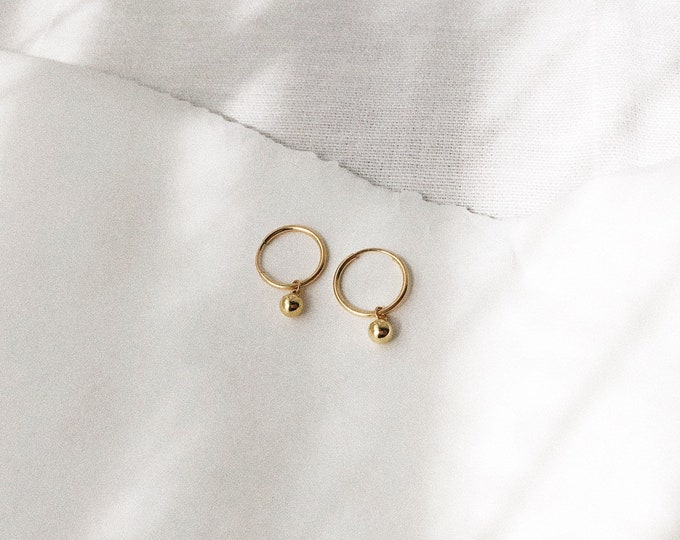 Gold Filled Baby Hoop Charm Earrings