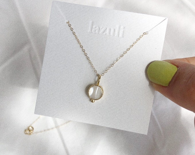 Mother-Of-Pearl Dainty 8mm Gold Charm Coin Necklace Gold Filled Chain