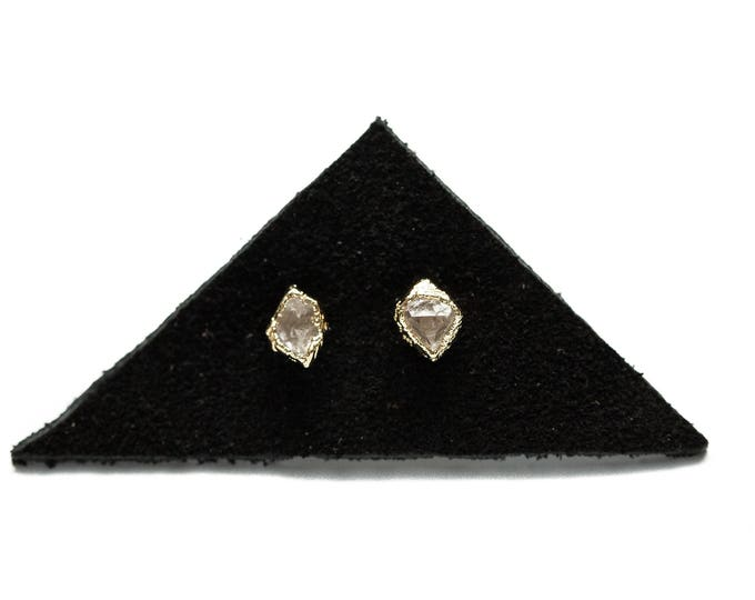 14k Gold Herkimer Diamond Stud Earrings