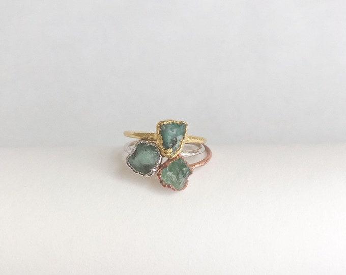 Raw Emerald Stacking Ring