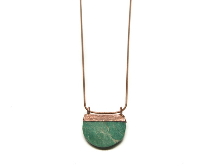 Genuine Turquoise Half Moon Necklace // Turquoise Necklace // Electroformed Turquoise // Turquoise // Joanna Gaines Necklace