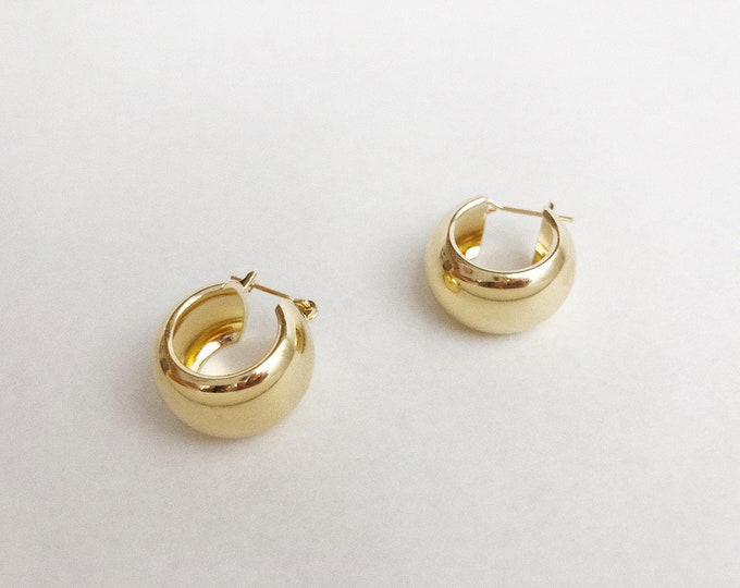 Chunky Gold Bubble Hoops Deadstock Recycled Vintage Gold Hoop Earrings