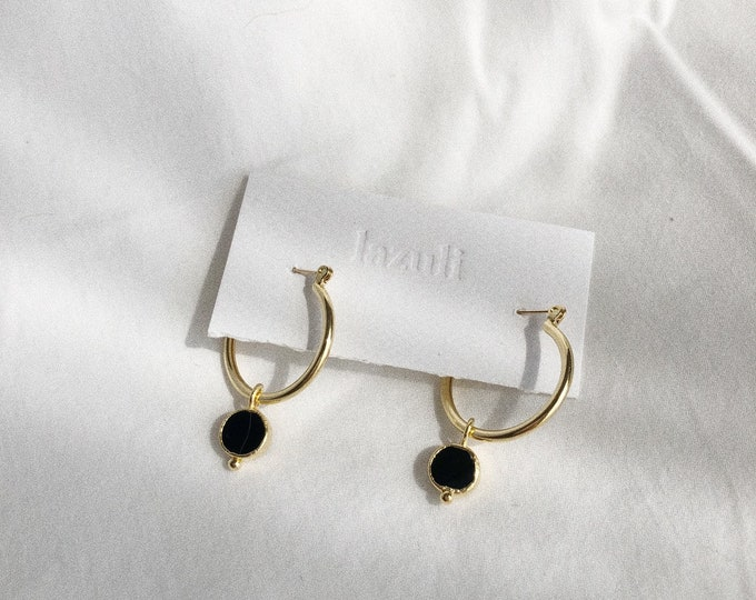 Black Agate 22mm Gold Hoop Charm Earring Botanical Minimalist Classic Earrings