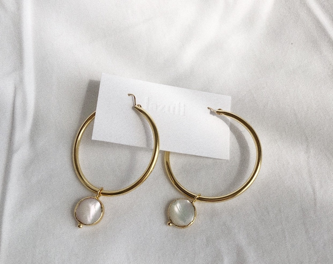 Large Mother-Of-Pearl Charm Gold Hoop Earrings Minimalist Classic Statement Earrings