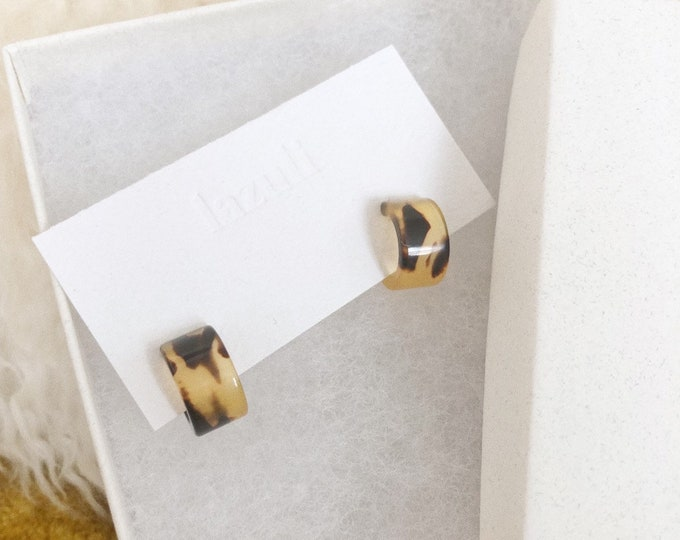Mini Tortoiseshell Deadstock Recycled Gold Filled Hoop Huggie Earrings