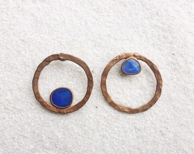 One-Of-A-Kind Asymmetrical Copper Opal Hoop Stud Earrings #06