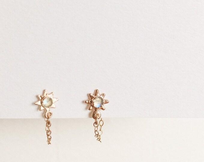 Rose Cut Rainbow Moonstone Rose Gold Star Dangle Chain Stud Earrings Shooting Star Constellation Piercing
