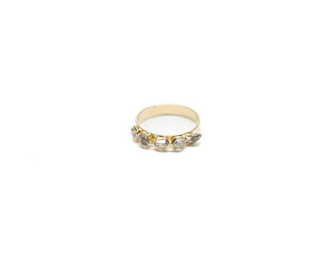 14k Gold Herkimer Diamond 5-Stone Ring