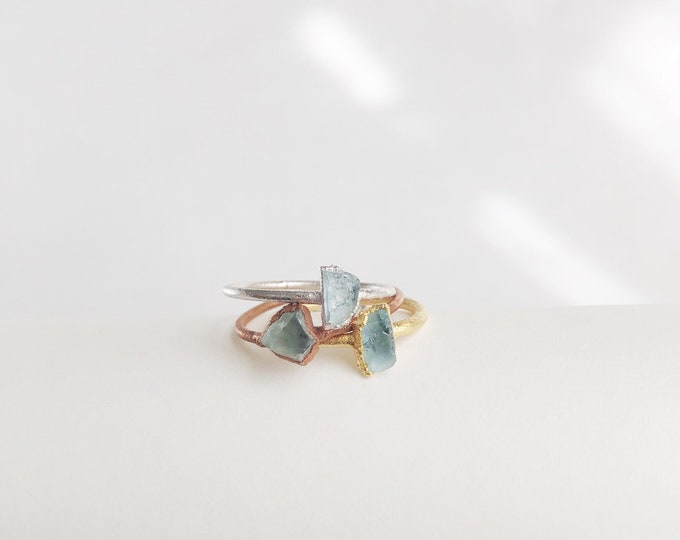 AQUAMARINE Stacking Ring // Raw Aquamarine Ring // Aquamarine Ring // Electroformed Aquamarine Ring // March Birthstone Ring