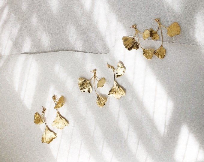 Ginkgo Leaf Cluster Gold Statement Earrings