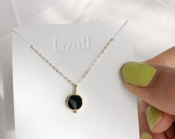 Black Agate Dainty 8mm Gold Charm Coin Necklace Gold Filled Chain