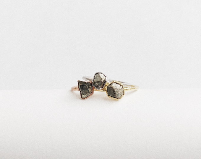 PYRITE Stacking Ring // Raw Pyrite Ring // Pyrite Ring // Electroformed Pyrite Ring // Pyrite Dodecahedron Crystal Ring // Raw Crystal Ring