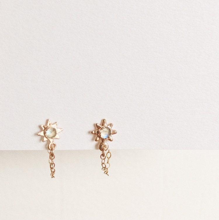 b18793e26 Rose Cut Rainbow Moonstone Rose Gold Star Dangle Chain Stud Earrings  Shooting Star Constellation Piercing