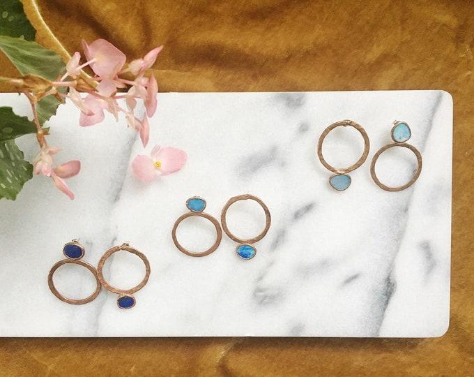 One-Of-A-Kind Asymmetrical Copper Opal Hoop Stud Earrings #05