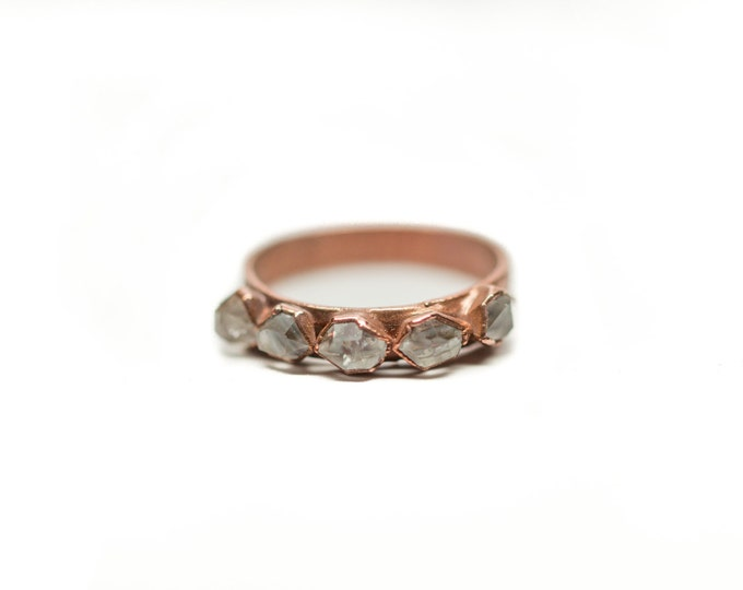 Copper  Herkimer Diamond 5-Stone Ring