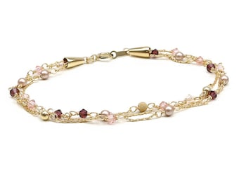 Spring Mood Happy Bride - bracelet; Handmade item; 14K Gold Filled chain and wire.