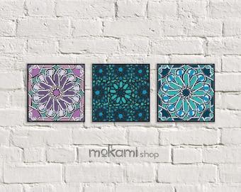 Moroccan Tiles, Black Canvas Set, Moroccan MOSAIC SET, Moroccan Wall Decor,  Moroccan Ornaments, Home Decor, Bathroom Decor, 8x8