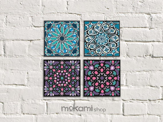 Moroccan Tiles Canvas Set Blue And Pink Moroccan Wall Decor