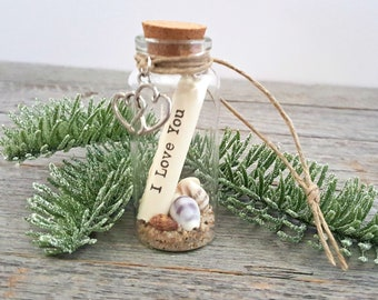 message in a bottle ornament in gift box 2018 dated ornament i love you small coastal christmas ornament beach gifts under 10 dollars