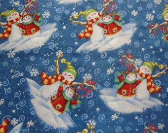 Vignettes of Snowman Family-General Fabrics-BTY