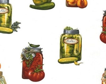 """Kiss the Cook """"Canning Jars Spring""""-Robert Kaufman-BTY"""