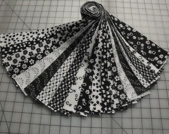 """Jelly Roll-""""Black & White Prints"""" 20 - 2 1/2"""" strips by Choice Fabrics"""