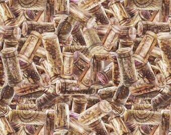 """Wine Country """"Corks Stacked""""-SPX Fabrics-BTY"""