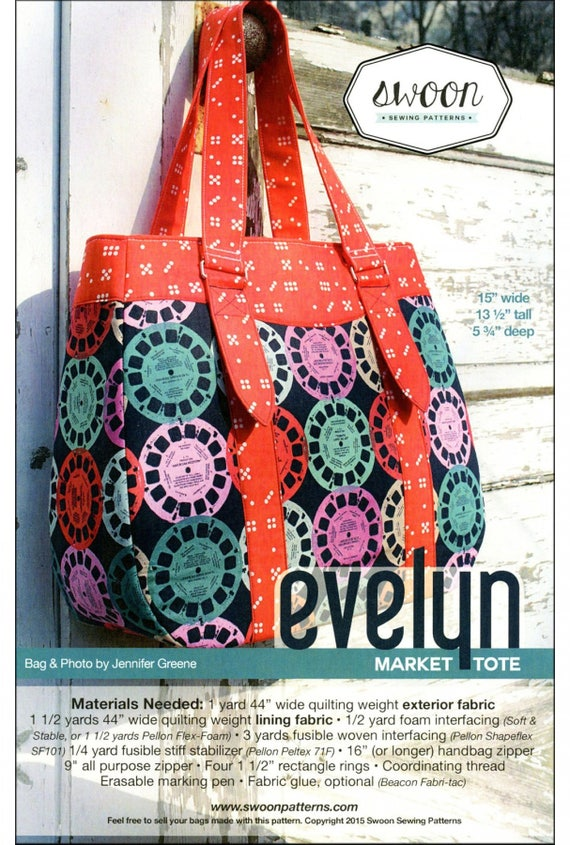 Swoon Sewing Evelyn Market Tote Pattern | Etsy
