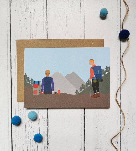 illus insert PERSONALISED HIKING WALKING MOUNTAINS BIRTHDAY ANY OCCASION CARD