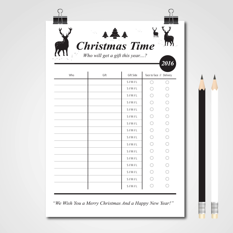To Do List Digital Paper Printable Christmas Gift List | Etsy