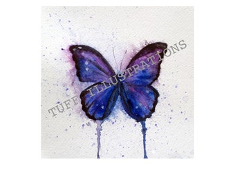 Expressive blue butterfly watercolor print of original