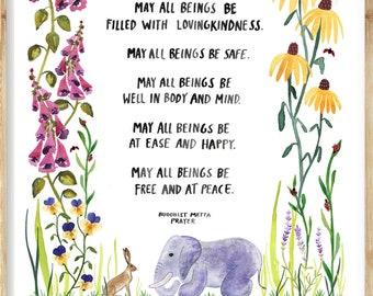 Buddhist Metta Prayer Art Print, Watercolor Poster, Peaceful Wall Art, Nursery Decor by Little Truths Studio