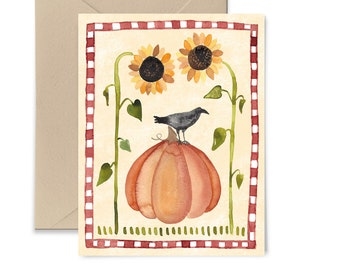 Pumpkin Crow Watercolor Greeting Card by Little Truths Studio