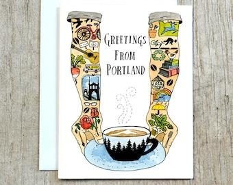 Greetings From Portland Card, Portland Oregon Greeting Card by Little Truths Studio