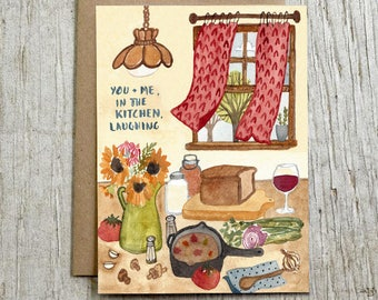 In The Kitchen Laughing Blank Watercolor Card, Love Note Card by Little Truths Studio