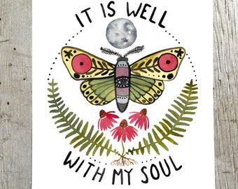 It Is Well With My Soul Watercolor Full Moon Moth Nature Art Print by Little Truths Studio