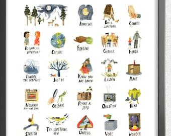 ABCs of Life Print, ABC Art Poster, Watercolor Alphabet Print, Wall Art, Baby Shower Gift, Nursery Decor by Little Truths Studio