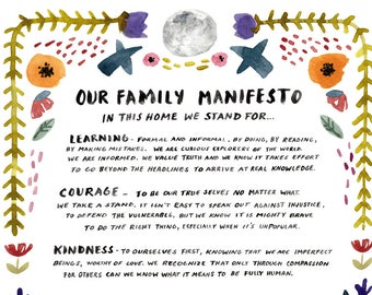 Family Manifesto Art Print, Watercolor Poster, Social Justice Wall Art, Baby Room, Nursery Decor by Little Truths Studio