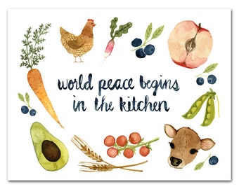 World Peace Begins In The Kitchen Watercolor Art Print, Kitchen Print, Kitchen Decor by Little Truths Studio