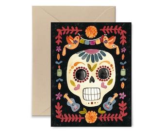 Dia de los Muertos, Day of the Dead Watercolor Card by Little Truths Studio