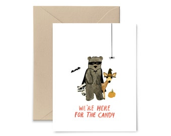 We're Here For The Candy Watercolor Halloween Card by Little Truths Studio